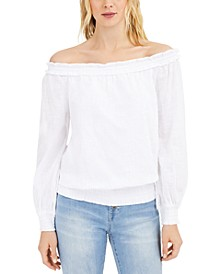 INC Cotton Off-The-Shoulder Solid Blouse, Created for Macy's