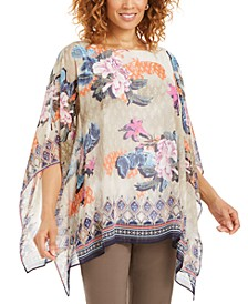 Printed Lurex Poncho Top, Created for Macy's