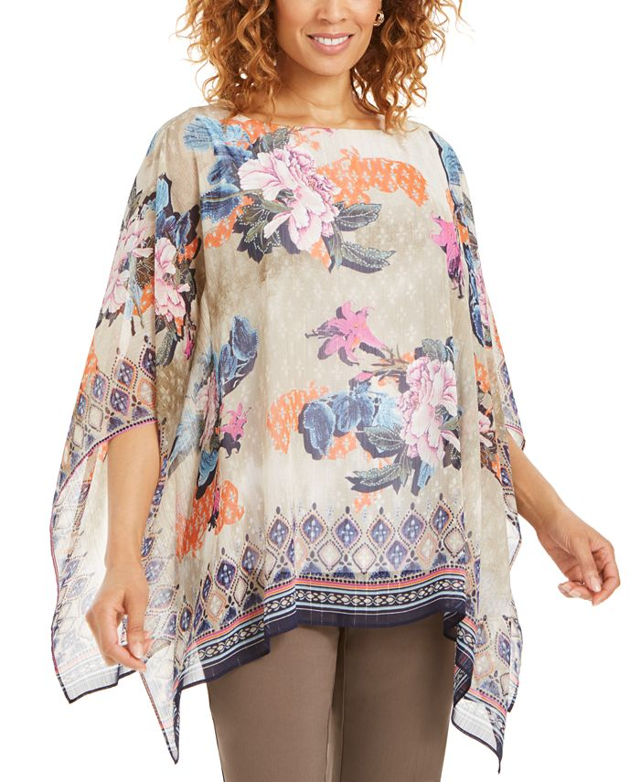 JM Collection - Printed Lurex Poncho Top