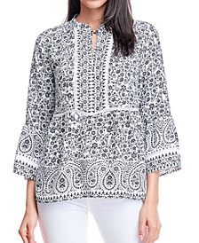 Bell Sleeve Peplum Blouse with Tie Neck