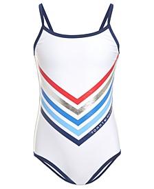 Girl Chevron Stripe One-Piece Swimsuit