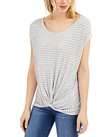 INC Studded Twist-Front T-Shirt, Created for Macy's