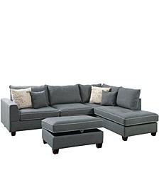 Venetian Worldwide Siena 3-piece Sectional Sofa with Storage Ottoman
