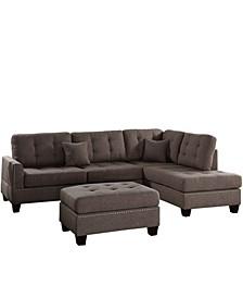 Venetian Worldwide Barcelona 3-Piece Sectional Sofa with Ottoman