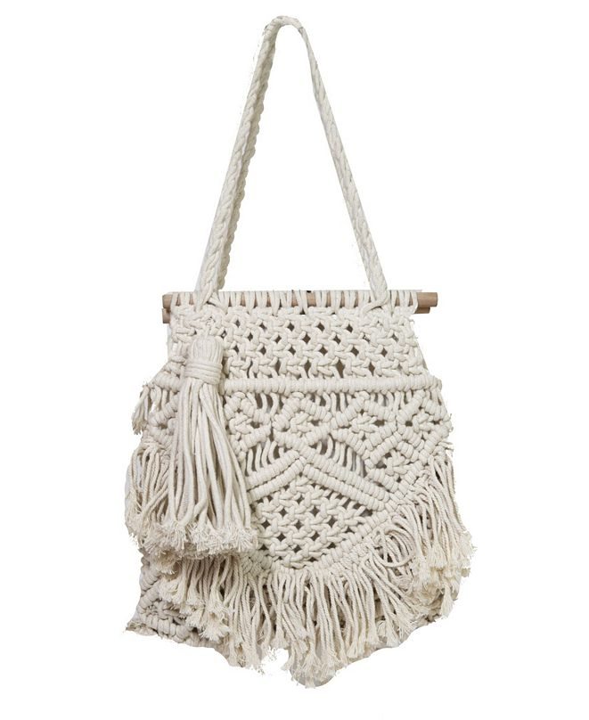 Area Stars Macrame Medium Bag with Wood Top Bar and Fringe Details
