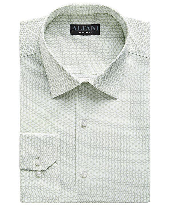 Alfani Men's Classic-Fit Rectangle Print Dress Shirt, Created for Macy's