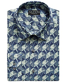 Men's Athletic-Fit Shattered Cube Graphic Dress Shirt, Created for Macy's