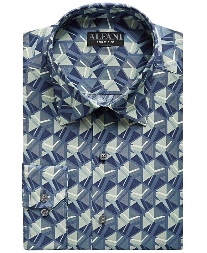 Alfani Men's Athletic-Fit Shattered Cube Graphic Dress Shirt, Created for Macy's