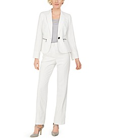 One-Button Zip-Pocket Pinstripe Pantsuit