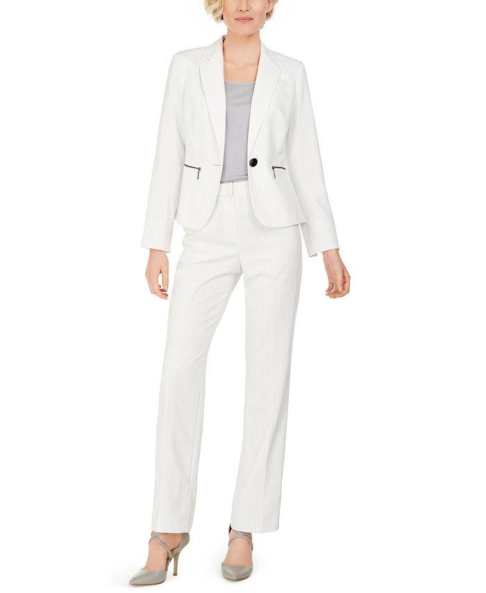 Le Suit - One-Button Zip-Pocket Pinstripe Pantsuit