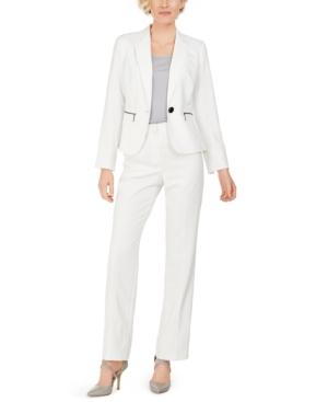 One-Button Zip-Pocket Pinstripe Pantsuit