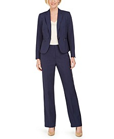 Petite One-Button Pinstripe Pants Suit