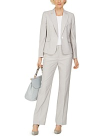 Single-Button Pinstripe Seersucker Pantsuit