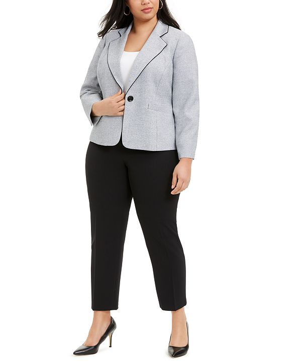 Le Suit Plus Size Piping-Trim Pantsuit