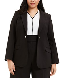 Plus Size Button-Trim Open-Front Blazer