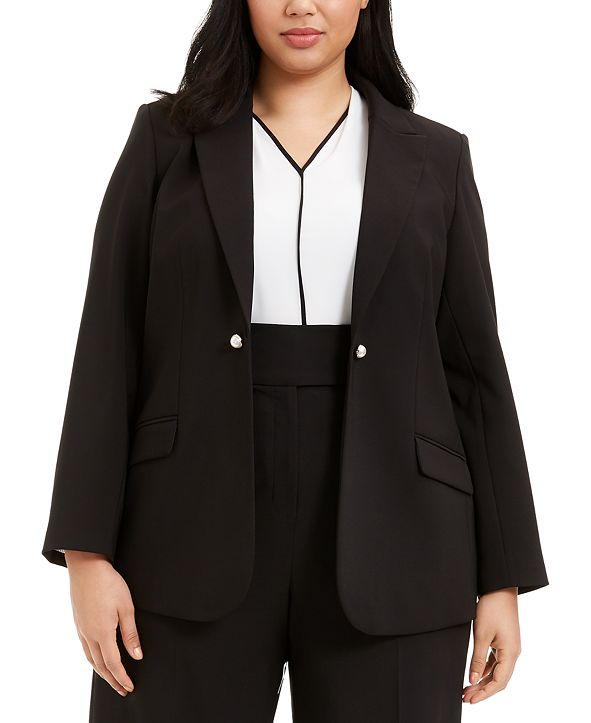 Calvin Klein Plus Size Button-Trim Open-Front Blazer
