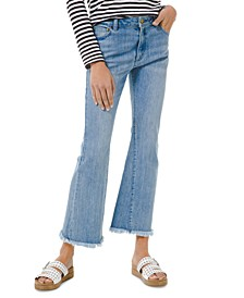 Frayed-Hem Flare-Leg Jeans