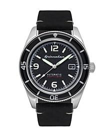 Men's Fleuss Automatic Black Genuine Leather Strap Watch 43mm
