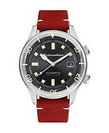 Men's Bradner Automatic Red Genuine Leather Strap Watch 42mm