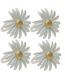 Daisy Spring Flower Painted Metal Napkin Rings, Set of 4