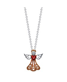 Gratitude & Grace Rose Gold Two-Tone Cubic Zirconia Angel Pendant Necklace