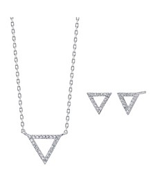 2-Pc. Set Cubic Zirconia Mini Triangle Necklace & Stud Earrings in Fine Silver-Plate, Created for Macy's
