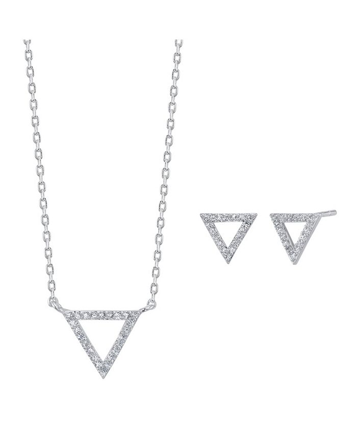 Unwritten - 2-Pc. Set Cubic Zirconia Triangle Necklace & Stud Earrings in Fine Silver-Plate, Created For Macy's
