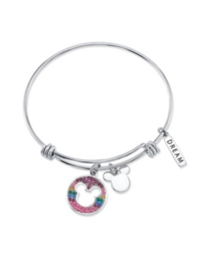 """Mickey Mouse """"Dream"""" Crystal Bangle Bracelet in Stainless Steel with Silver Plated Charms"""