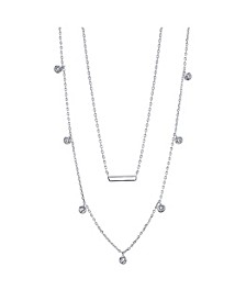 Fine Silver Plated Cubic Zirconia Bar Duo Necklace with Beaded Secondary Chain