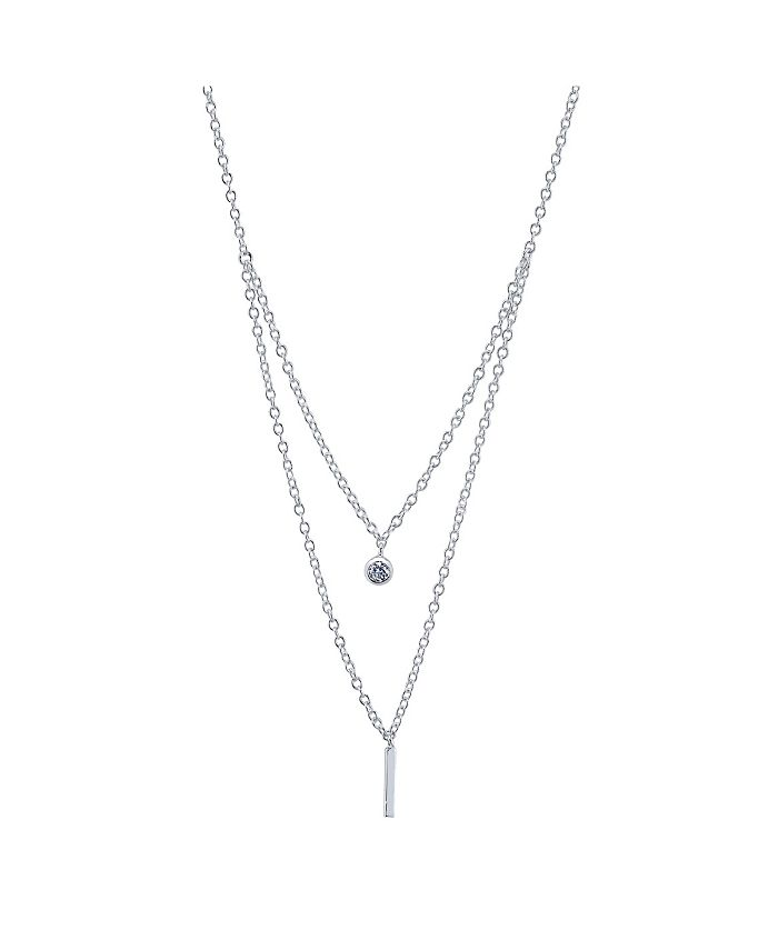 Unwritten - Round Cubic Zirconia and Bar Duo Necklace in Fine Silver Plate