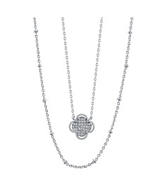 Fine Silver Plated Gold Cubic Zirconia Flower Duo Necklace with Beaded Second Chain