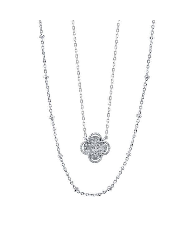 Unwritten Fine Silver Plated Gold Cubic Zirconia Flower Duo Necklace with Beaded Second Chain