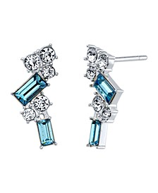 Fine Silver Plated Aqua and Clear Swarovski Crystal Post Stud Earrings by David Tutera Everyday Celebrations