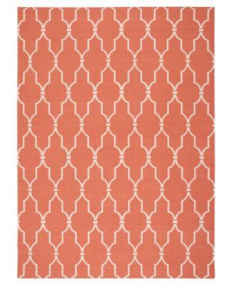 "Backyard BAC087 Orange 7'9"" x 10'10"" Area Rug"