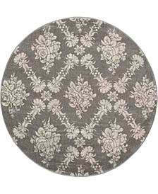 """Peace PEA09 Gray, Pink 5'3"""" Round Area Rug"""