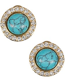 18k Gold Plated Button Clip On Earring