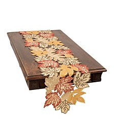 Autumn Leaves Embroidered Cutwork Table Runner