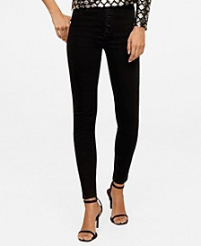 Buttons Skinny High Waist Jeans