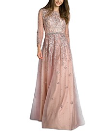 Embellished Embroidered Illusion Gown