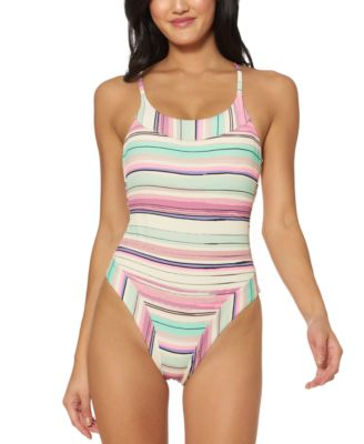 Bar III Womens Stitches One-Piece Swimsuit White, Small