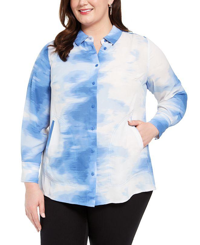 Alfani Plus Size Tied-Dyed Oversized Blouse, Created for Macy's