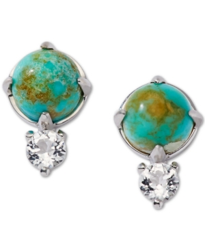 Silver-Tone Turquoise (8mm) & Crystal Stud Earrings