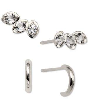 2-Pc. Set Crystal Stud & Hoop Earrings