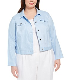 Plus Size Linen Trucker Jacket