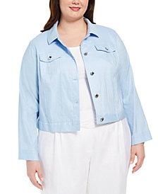 Calvin Klein Plus Size Linen Trucker Jacket
