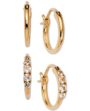 2-Pc. Set Small Polished & Crystal Hoop Earrings