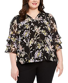Plus Size Ruffled-Sleeve Top
