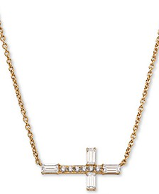 "18k Gold-Plated Cubic Zirconia East-West Cross Pendant Necklace, 16"" + 1"" extender"