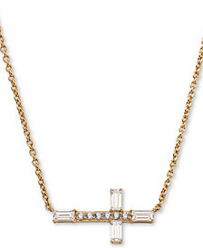 "AVA NADRI 18k Gold-Plated Cubic Zirconia East-West Cross Pendant Necklace, 16"" + 1"" extender"