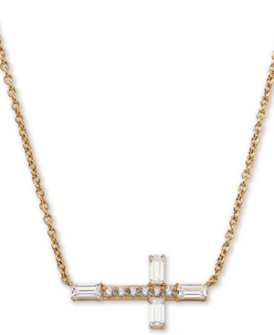 18k Gold-Plated Cubic Zirconia East-West Cross Pendant Necklace